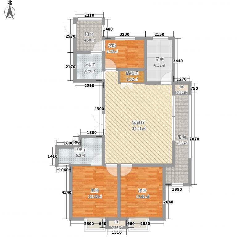 九龙华府13.10㎡一期6#楼标准层C4户型3室2厅2卫1厨