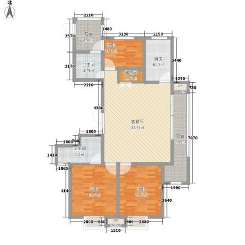 九龙华府3室1厅2卫1厨95.56㎡户型图