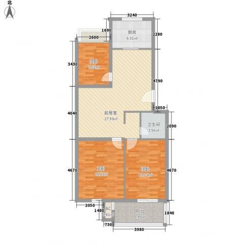 汇隆花园3室0厅1卫1厨115.00㎡户型图