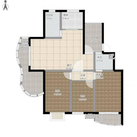 越湖名邸2室1厅1卫1厨128.00㎡户型图