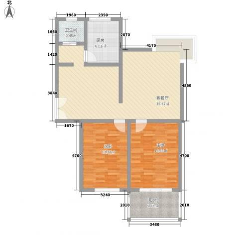 新江南花园2室1厅1卫1厨111.00㎡户型图