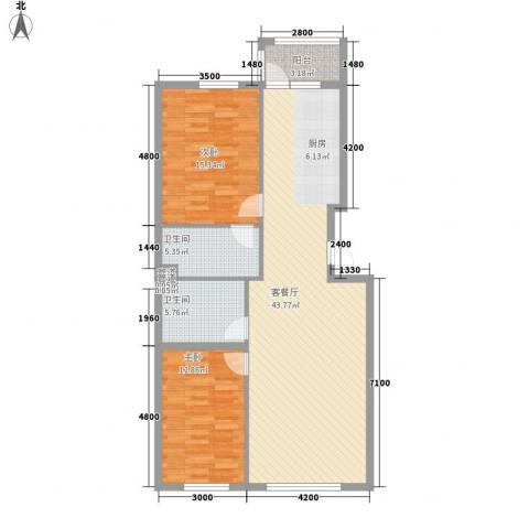 恒祥中山2室1厅2卫0厨86.36㎡户型图