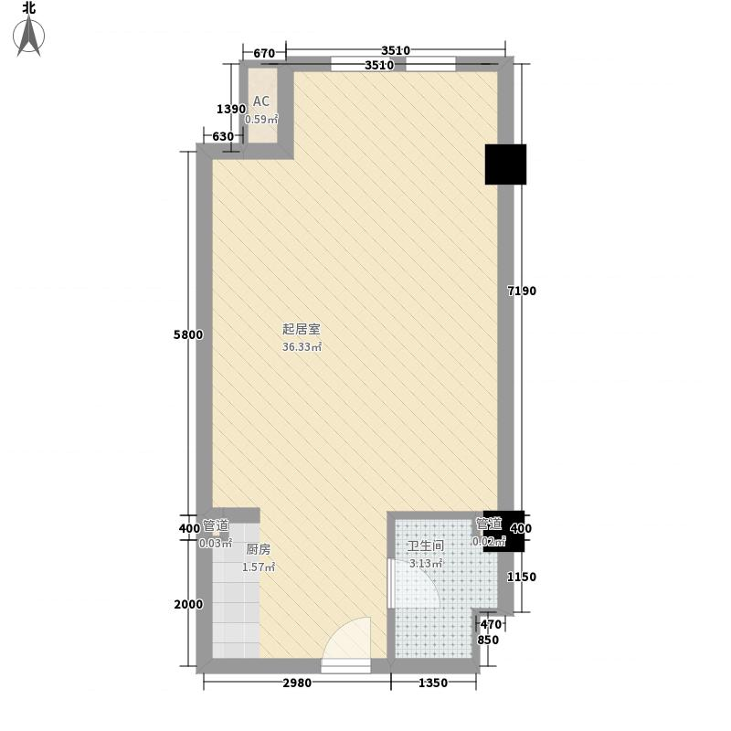 紫荆花园四期56.30㎡16#楼公寓A户型1室1厅1卫