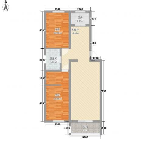 仁盛家园2室1厅1卫1厨102.00㎡户型图