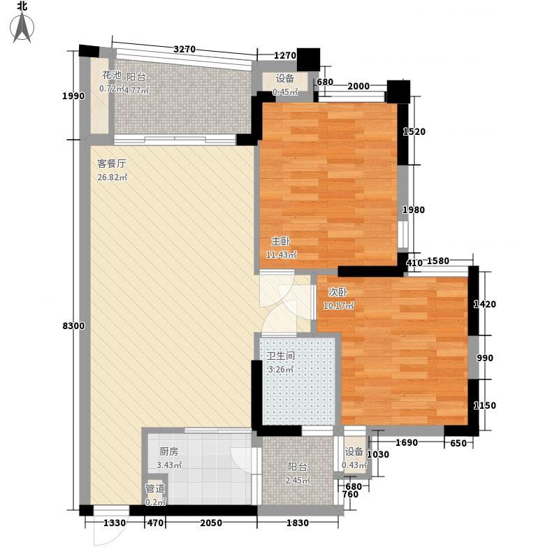 福隆・丽水湾85.19㎡福隆丽水湾户型图B-9户型图2室2厅1卫户型2室2厅1卫