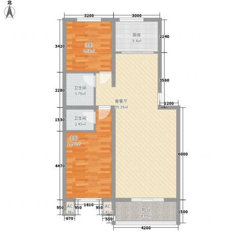 仁盛家园2室1厅2卫1厨109.00㎡户型图