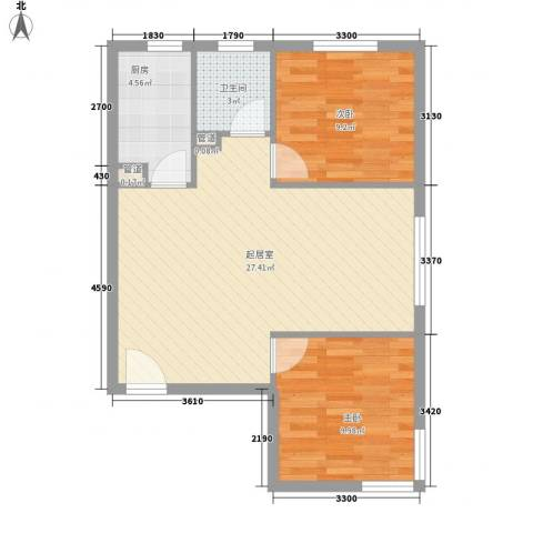 岭湾峰尚2室0厅1卫1厨76.00㎡户型图