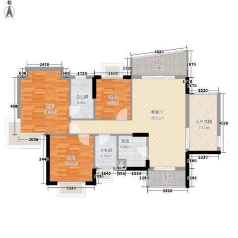 绿海名居3室1厅2卫1厨103.00㎡户型图