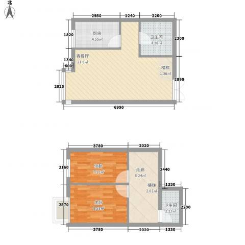 西岸国际2室1厅2卫1厨56.59㎡户型图