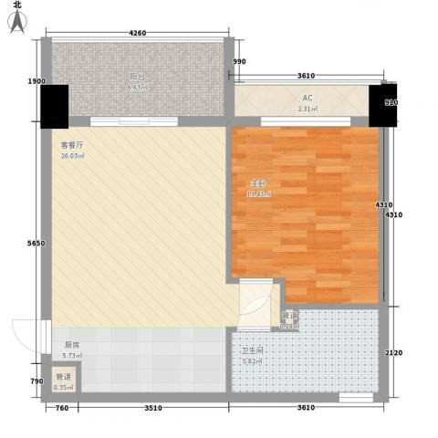 三亚湾红树林度假世界1室1厅1卫0厨57.00㎡户型图