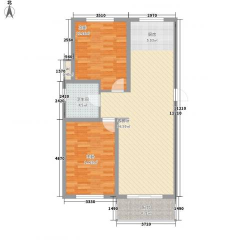 丽和阳光城2室1厅1卫0厨97.00㎡户型图
