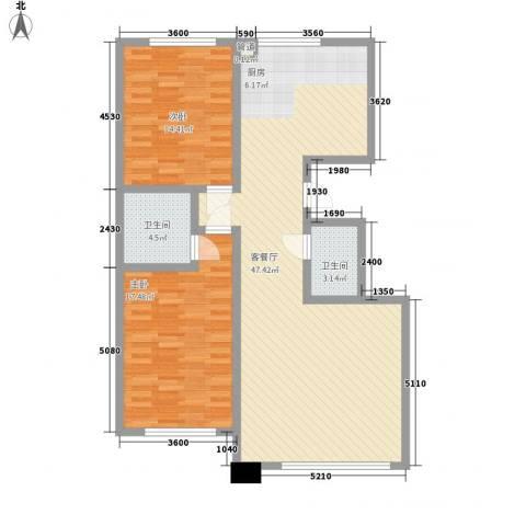 汇景星城2室1厅2卫0厨117.00㎡户型图