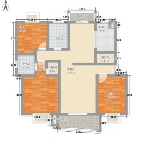 申峰花苑3室1厅2卫1厨130.00㎡户型图