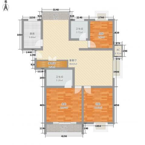 阳光四季园3室1厅2卫1厨135.00㎡户型图