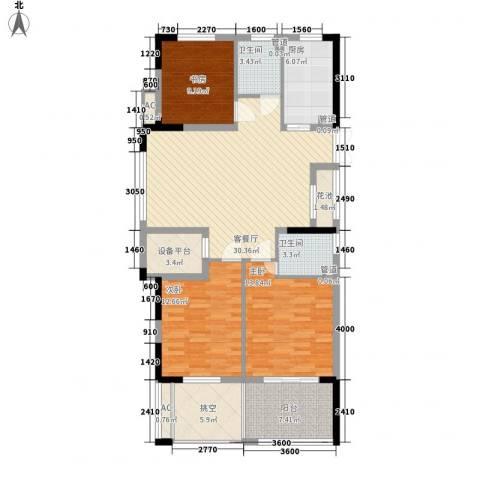 勤业镜悦府3室1厅2卫1厨112.71㎡户型图