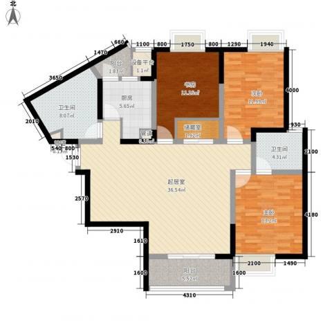 蓝庭国际3室0厅2卫1厨147.00㎡户型图