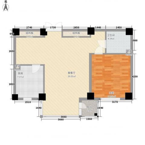 风和日丽1室1厅1卫1厨100.00㎡户型图