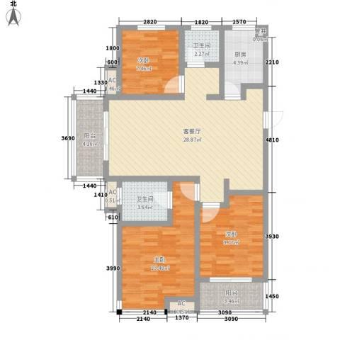 西城十二庭院3室1厅2卫1厨117.00㎡户型图