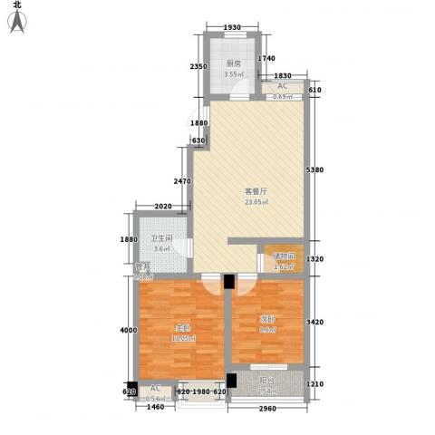 西城十二庭院2室1厅1卫1厨84.00㎡户型图
