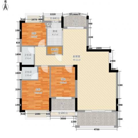 联泰香域滨江桥郡3室0厅2卫1厨126.00㎡户型图