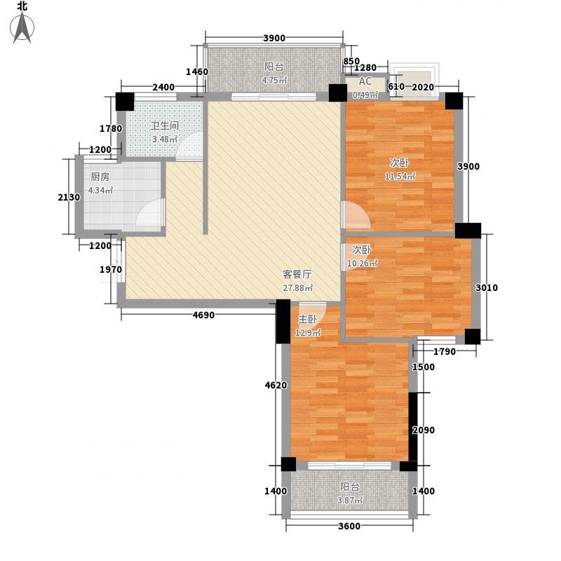 宏佳杰座6.15㎡B4户型3室2厅1卫1厨