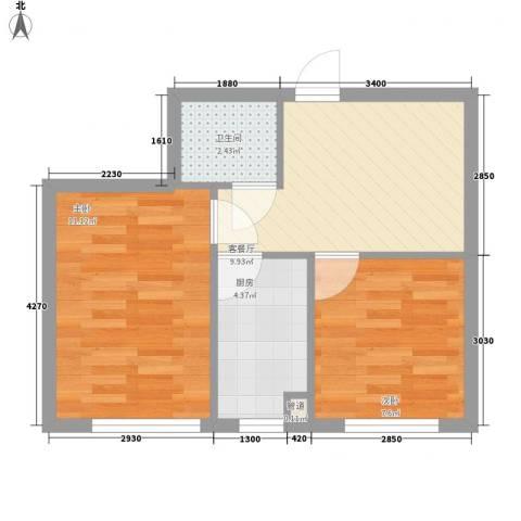 恒泰骏景2室1厅1卫1厨54.00㎡户型图