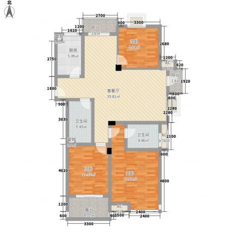 西城十二庭院3室1厅2卫1厨125.00㎡户型图