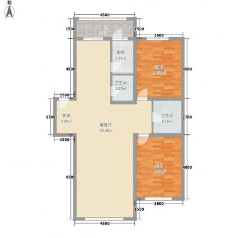 金山小区2室1厅2卫1厨130.00㎡户型图