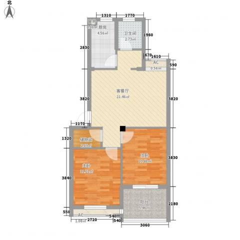 西城十二庭院2室1厅1卫1厨86.00㎡户型图