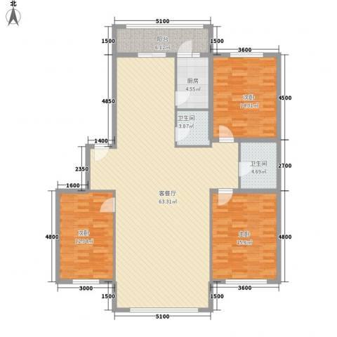 金山小区3室1厅2卫1厨156.00㎡户型图