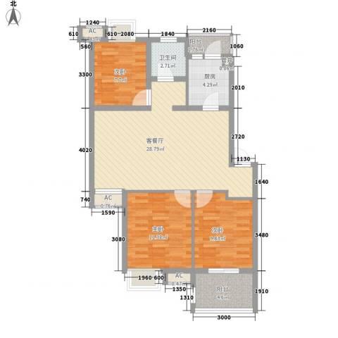 西城十二庭院3室1厅1卫1厨72.76㎡户型图