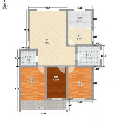 环翠家园3室2厅2卫1厨135.00㎡户型图