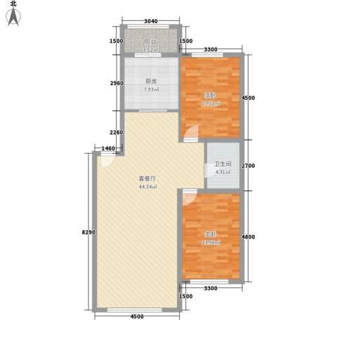 金山小区2室1厅1卫1厨112.00㎡户型图