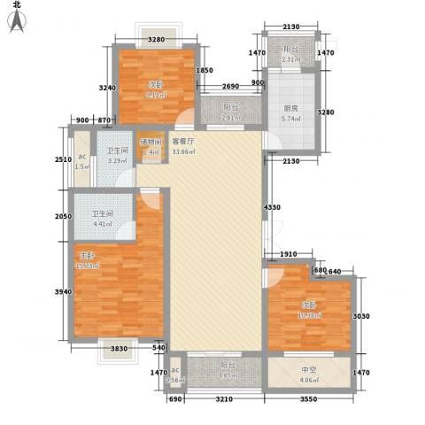 九龙华府3室1厅2卫1厨138.00㎡户型图