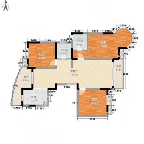 江海皇都3室1厅2卫1厨154.00㎡户型图