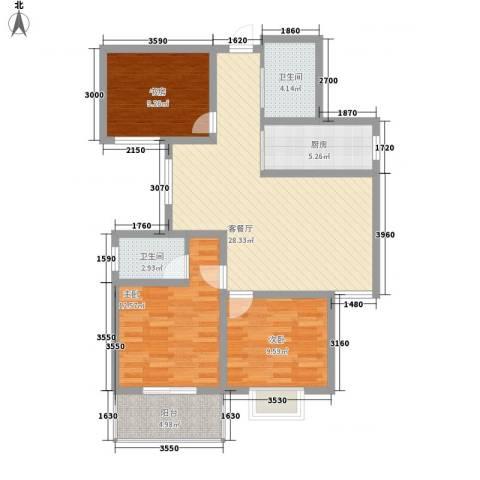 新乐城3室1厅2卫1厨111.00㎡户型图