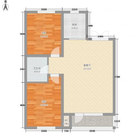 长电朗天国际2室1厅1卫1厨96.00㎡户型图