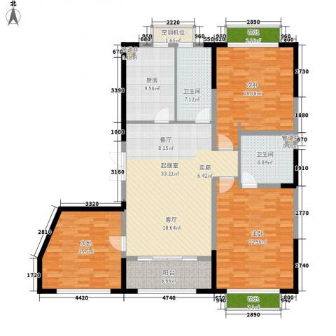 蠡湖香榭3室0厅2卫1厨142.00㎡户型图