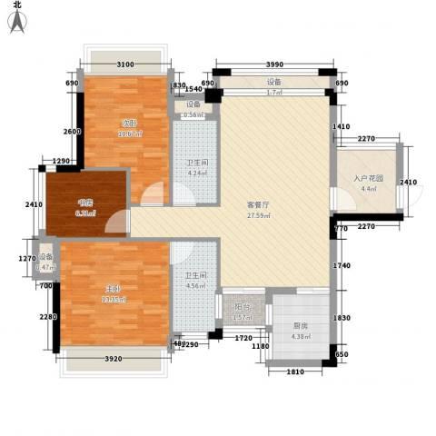 风度广场3室1厅2卫1厨79.71㎡户型图
