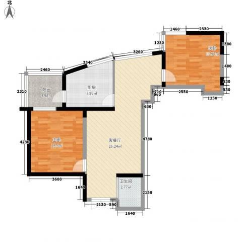 未来城2室1厅1卫1厨89.00㎡户型图