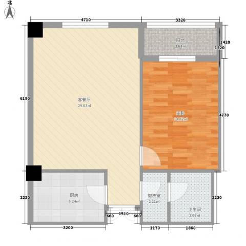 未来城1室1厅1卫1厨83.00㎡户型图