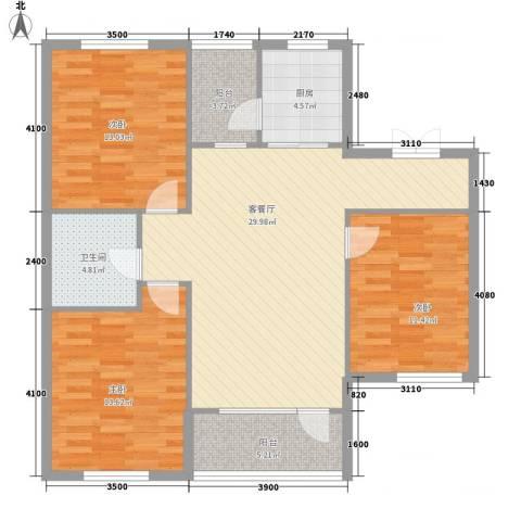 长电朗天国际3室1厅1卫1厨120.00㎡户型图
