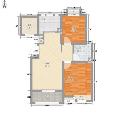 滨湖御景湾2室1厅1卫1厨84.00㎡户型图