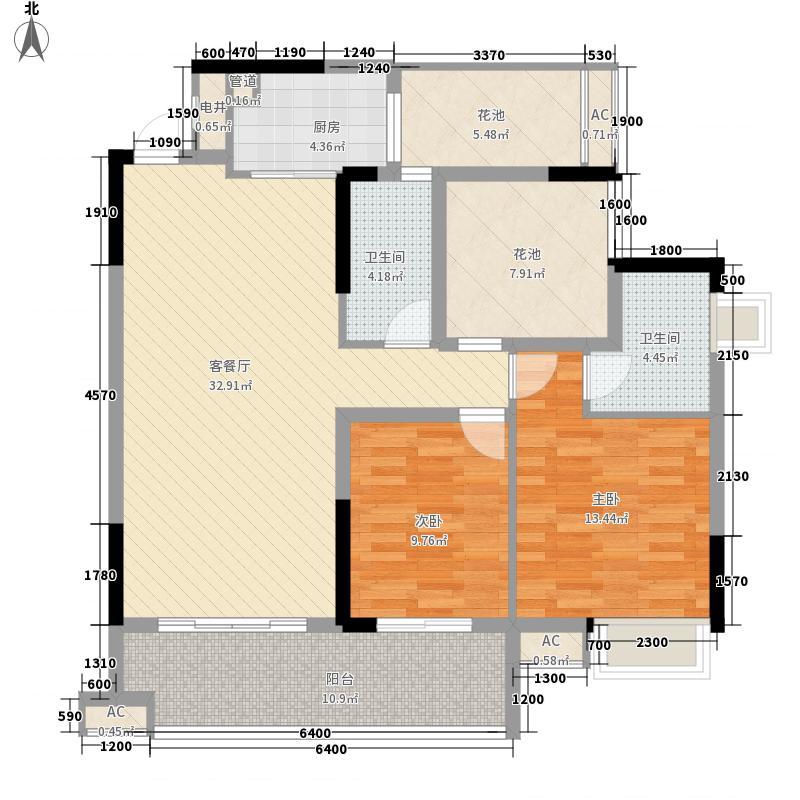 领地亚马逊二期126.54㎡D户型3室2厅2卫1厨