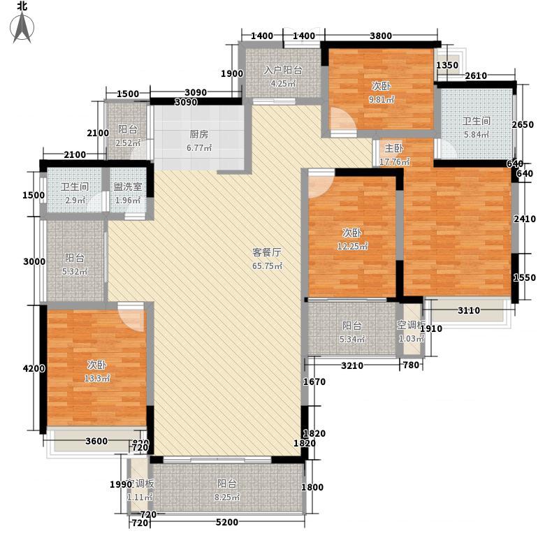 虹桥湾14.37㎡1号楼第2层C型户型5室2厅1卫1厨