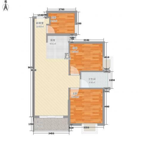 航空祥郡3室0厅1卫0厨85.00㎡户型图