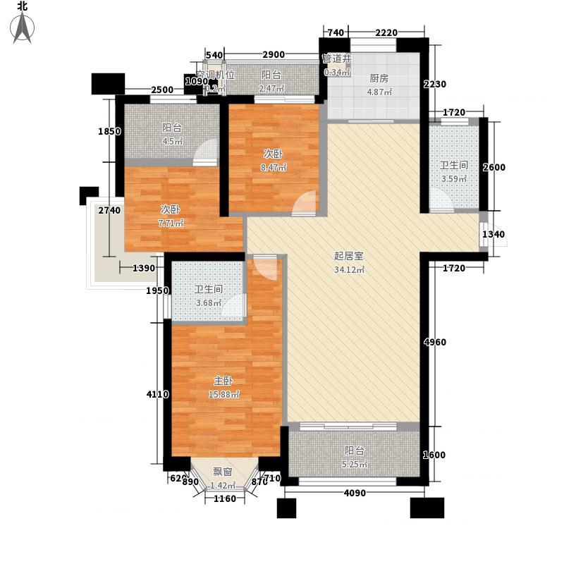 名城银河湾134.00㎡9号、12号、17号楼03单元平面图户型3室2厅2卫1厨