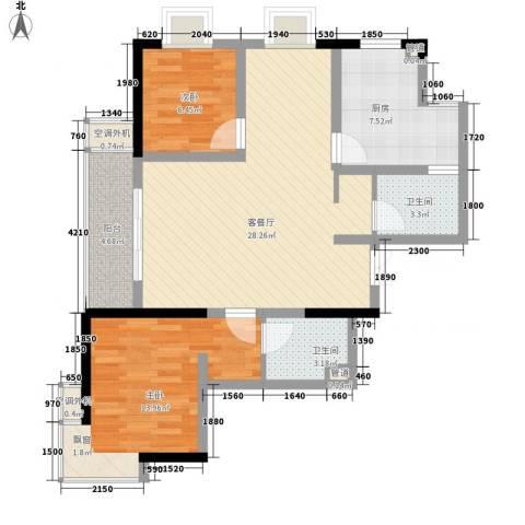 碧水华庭2室1厅2卫1厨98.00㎡户型图