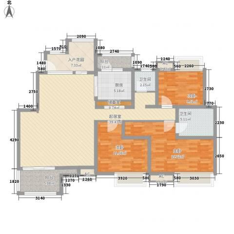华润澜溪镇3室0厅2卫1厨151.00㎡户型图