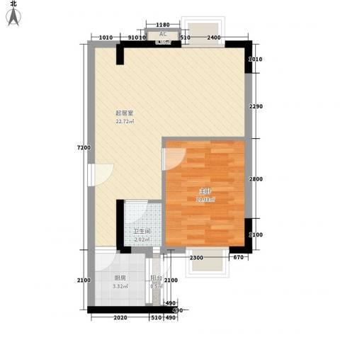 粤顺豪庭1室0厅1卫1厨57.00㎡户型图
